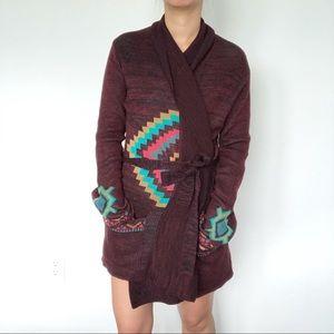 Billabong Aztec maroon wrap cardigan tie Medium